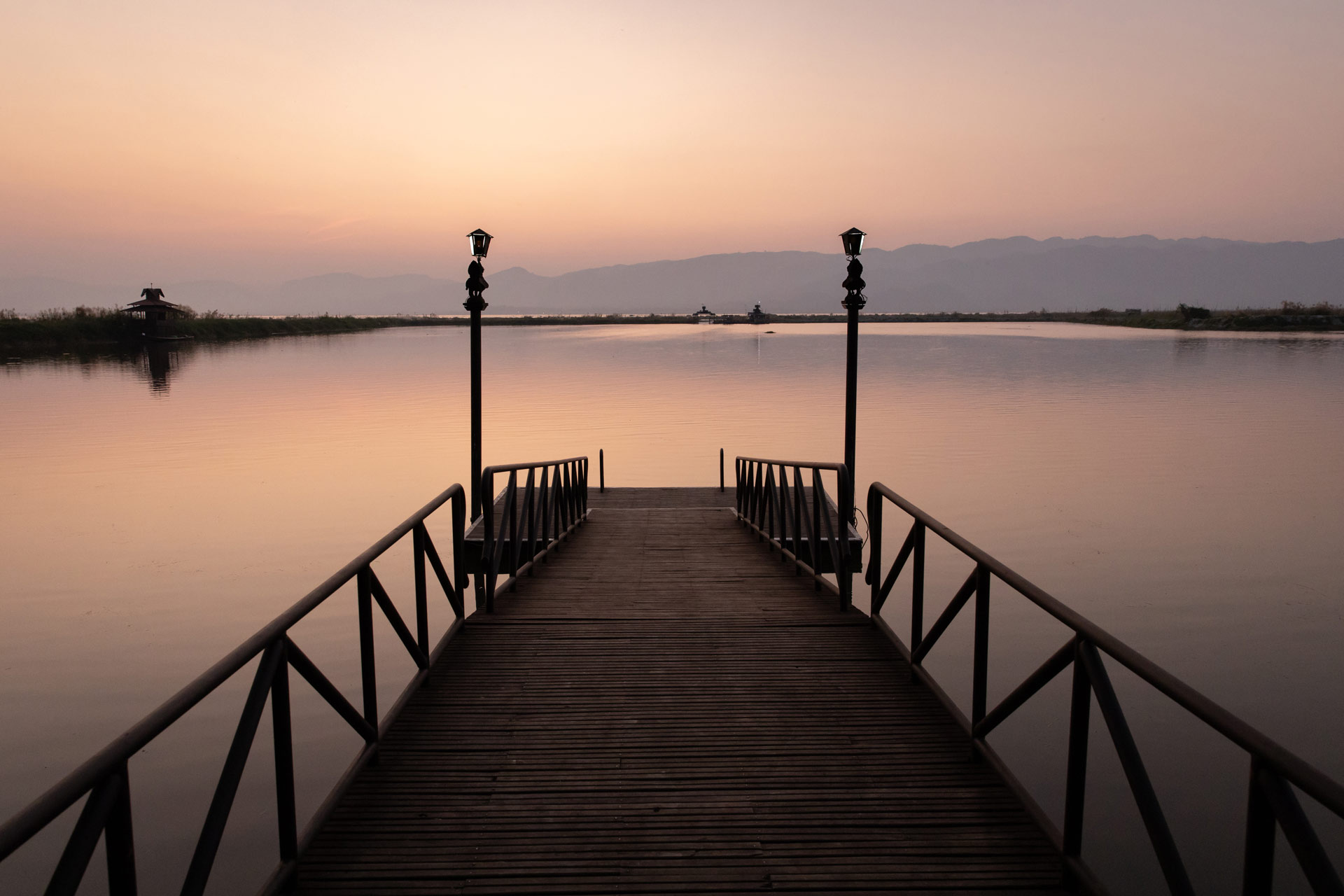 Beautiful sunset from the pier of Inle resort & spa
